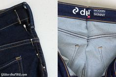 How to Take in the Waist on a Pair of Jeans. If your jeans gap slightly or are a little too big at the waist, you may be able to fix the issue by taking in the waist yourself. Diy Jeans, Sewing Jeans, Short Jeans, Altering Jeans, Look Con Short, Sewing Alterations, Diy Clothes Videos, Extra Fabric, Straight Stitch
