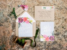 floral inspired invitations, photo by Love by Serena, styling by Sarah Park Events http://ruffledblog.com/oatlands-plantation-wedding-inspiration #weddinginvitations #misswyolene #stationery