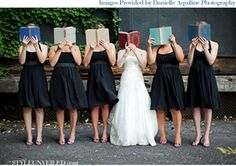 Why libraries make a great wedding venue. I just want to know the titles of the books they are reading!