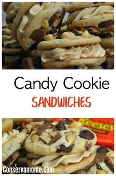 This recipe will be a huge hit. Filled with oh so delectable peanut butter butter cream. Each bite includes a mouth full of tasty snickers, peanuts and more. This recipe is a unique cookie recipe you will love! Delicious Cookie Recipes, Best Dessert Recipes, Baking Recipes, Snack Recipes, Dessert Ideas, Snacks, Fancy Cookies, Yummy Cookies, Cheesecake Brownie Bars