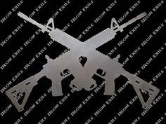 Crossed AR 15s M16s Guns Metal Art Metal Walls, Metal Wall Art, Gun Decor, Steel Supply, Cottage Signs, Gun Art, Fire Pit Designs, Sign Stencils, Garage Art