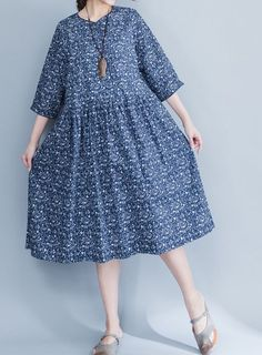 Women loose fitting over plus size retro flower dress long maxi tunic pregnant