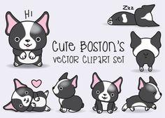 Premium Vector Clipart - Kawaii Boston Terriers - imágenes prediseñadas de Boston lindo Set - vectores de alta calidad - descarga inmediata - Kawaii imágenes prediseñadas