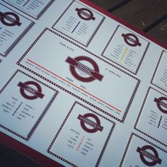 Another great example of a wedding seating plan themed around the London Underground.