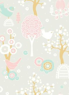 Majvillan Tapete Cherry Valley - Soft Grey/ Pink/ Turquoise