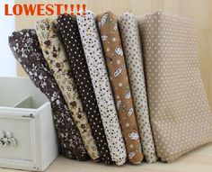 FREE SHIPPING 7 piece 50cm*50cm Cotton Fabric Fat Quarter Bundle Vintage Brown Quilting Patchwork Tilda Fabric Sewing W3A4-1