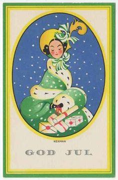 Nerman Artwork Christmas Postcard Art Deco Woman in Green/Fur Coat