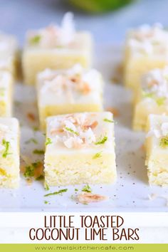 """Coconut + lime make the best combination in these fudgy little toasted coconut lime bars. More """"brownie"""" in texture than anything, they are irresistible (and super easy to make)! Just Desserts, Delicious Desserts, Dessert Recipes, Yummy Food, Lime Cookie Recipes, Coconut Lime Recipes, Coconut Lime Cupcakes, Coconut Ideas, Citrus Recipes"""
