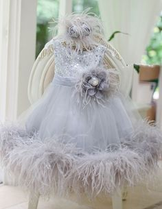 Silver Grey Sweet Ostrich Feather Girls Party Dress