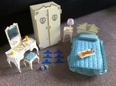 second hand from a jumble sale. Vintage Pedigree Sindy Bedroom Furniture And Accessories. my cousin had this and I think I ended up getting the dresser.must go through the barbie/Sindy box! 1970s Childhood, My Childhood Memories, Childhood Toys, 1970s Toys, Retro Toys, Sindy Doll, Vintage Barbie Dolls, Vintage Bedroom Furniture, Doll Furniture
