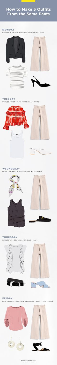 Need some Monday-Friday outfit inspo? Here's how to wear the same pants—5 totally different ways. Bookmark this when you have no idea what to wear to work.