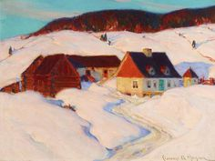 Farm in Winter by Clarence Gagnon Canadian Painters, Canadian Artists, Winter Painting, Winter Art, Clarence Gagnon, Quebec, Group Of Seven Paintings, Of Montreal, Painting Gallery