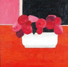 Bernard Cathelin (1919-2004) Bouquet de roses au vase de Moustiers, 1980