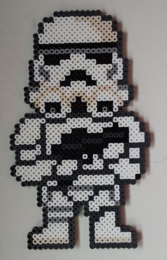 Week 16, Day 107, Black and White, Star Wars Storm Trooper. 365 Day Perler Bead Challenge.