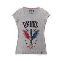 T Shirt Rebel Emblema della lady biker, la tshirt si presta per qualsiasi look, sportivo e elegante. La stampa vintage inoltre imprime carattere e stile unico.