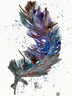 Feder -Original-Aquarell von *zeitgenössische kunst von maria-mercedes* auf DaWanda.com