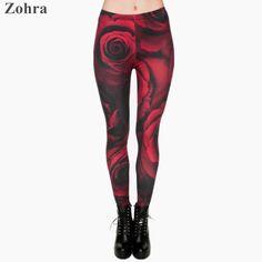 Zohra Fashion Red Roses 3D Print Leggings Punk Women's Girls fitness Legging Stretchy Trousers Casual Pants Leggings