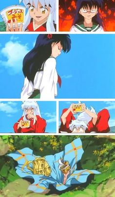 Inuyasha/ But he never lets go of the ramen. Like a champ.