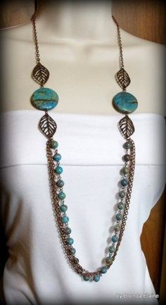 Necklace with Blue Sky Jasper and Long Antique Copper Chains   byBrendaElaine - Jewelry on ArtFire