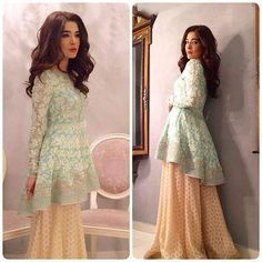 #AyeshaOmar wears a #SaniaMaskatiya Peplum top with hand embroidery from the Summer Bloom collection paired with flared Gharara pants, to the Celebrity lounge Eid special hosted by #CybilChowdhry, #AsimYarTiwana and special co host #AhsanKhan. Hair & Make-up by #MaramAabroo