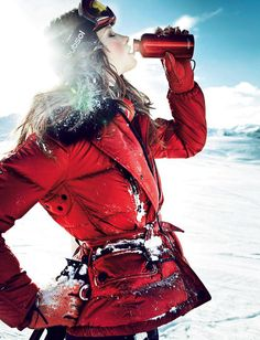 Fab love the red outfit in the snow