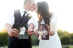Get a shot of us holding our parents' wedding pictures!