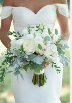 Image result for white wedding bouquet with greenery