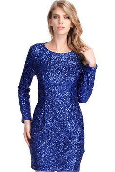 Back Hollow Royal Blue Sequin Party Dress from Romwe Blue Sequin Dress, Sequin Party Dress, Blue Dresses, Party Dresses, Dress P, New Dress, Dress Long, New Years Eve Dresses, Latest Street Fashion