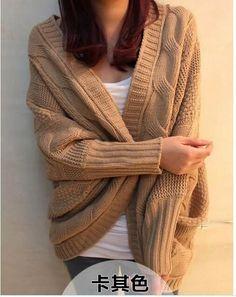 Hot sale bat sleeve cardigan knitting needle loose shawl ladies sweater cost women