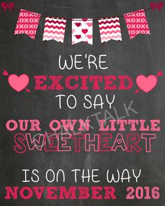Valentine's Day Pregnancy Announcement  by ChalkTalkDesigns