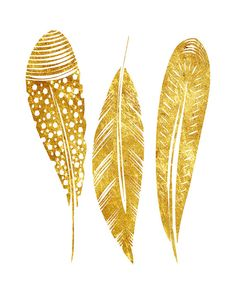 Feather Art Modern Minimalist Gold Feather by WellDressedWall