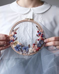 Watch These Hoops Magically Transform Into Floral Wreaths | Martha Stewart Living — Artist Olga Prinku shows how to make something beautiful from netted fabric, dried flowers, and an embroidery hoop.