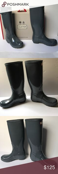 NWT Hunter Original Tall Gloss Boots NWT Hunter Original Tall Gloss Boots with box. Rubber upper with Gloss finish. 15.75 inch boot shaft height. 14.5 inch boot shaft circumference. 1 inch heel height. Hunter Boots Shoes Winter & Rain Boots