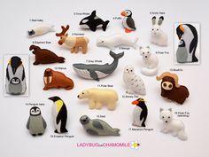 ARCTIC ANIMALS. Rock hopper penguin, Emperor penguin, Harp seal, Orca whale, Elephant seal, Puffin, Walrus, Arctic hare, Arctic fox, Beluga whale, Hrey whale, Snowy owl, Musk ox, Polar bear,