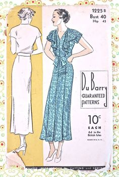 Du Barry 1225  Vintage 1930s Drape Front Dress by Fragolina, $41.00