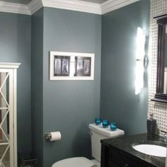 greyish blue bathrooms | Blue gray bathroom. Love this color!  for our bathroom