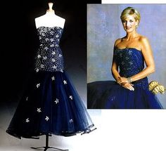 Designed by Murray Arbeid. Midnight blue silk tulle, strapless dress lined with purple silk and adorned with daimant stars. Diana wore this sparkling dress at the Phantom Of The Opera London Premiere. Lord Snowdon photographed Diana in this dress for the Christie's auction catalog. $48,300.00