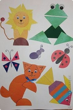 Shape Art Mouse Crafts, Ladybug Crafts, Shape Collage, Shape Art, Animal Art Projects, Animal Crafts, Toddler Activities, Preschool Activities, Learning Shapes