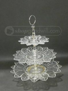 Vintage Clear, Silver No Makers Mark Looking 3 Tier Glass Serving Tray