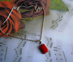 Carnelian Sterling Silver Necklace Pendant by HummingbirdCove, $20.00