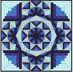 (7) Name: 'Quilting : Diamond Log Cabin ~ Star Burst ~ Double