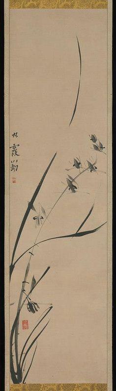 """Orchids"", Ike Taiga (1723–1776). - Sumi (ink) on hanging silk scroll.ー 場所: The Metropolitan Museum of Art, New York"