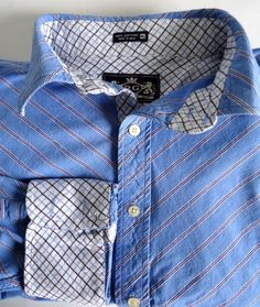 Robert Graham Blue Striped Oxford Button Down Shirt Mens XL Flip Cuff Fashion