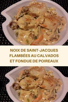 Voici un amuse-bouche simple mais délicieux, peu d'ingrédients, juste de bons produits, que demander de plus ? Simple mais c'est bien souvent le plus simple qui plaît le plus !!  Voici une dernière recette de coquilles Saint-Jacques pour cette saison. Cette fois-ci je les ai cuisinées en bonne Normande, flambées au Calvados avec un peu de crème 🙂 La recette est vraiment rapide et simple. Pan Fried Scallops, Christmas Dining Table, Coquille Saint Jacques, Quiche Lorraine, Tasty, Yummy Food, Foods To Avoid, Winter Food, Entrees