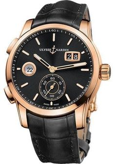 Ulysse Nardin - Dual Time Manufacture Rose Gold - Leather Strap Watch 3346-126/92