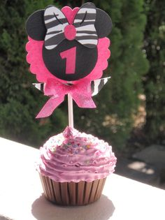Hot Pink, Black, Zebra Minnie Mouse Cupcake Toppers