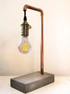 DIY Concrete lamp with copper pipe and edison bulb
