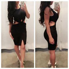 The Shaney Side Slit Midi Dress - Black
