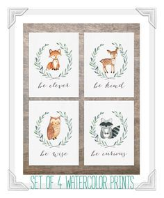 Set of 4 Woodland Animal Prints | Fox Deer Raccoon Owl | Woodland Nursery Decor | Woodland Creatures | Be Brave Be Kind Be Curious Be Wise | by EmmaAndTheBean on Etsy https://www.etsy.com/listing/270683283/set-of-4-woodland-animal-prints-fox-deer