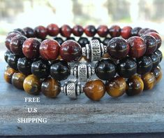 Red Tiger eye, Brown Tiger eye, Black onyx, Mens bracelet, Reiki bracelet This design is handmade and design by me, first sold on etsy on Aug 14, 2013 Copyright by Life Force Energy Shop 2013-2017 Absolutely Gorgeous and Classy! Made with High quality 8mm beads, Red Tigers eye,
